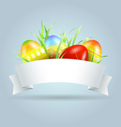 label with easter eggs and grass vector image