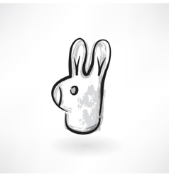 rabbit head grunge icon vector image