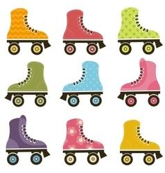 Set of patterned roller skates vector