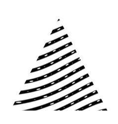 Triangle with black curved lines vector image