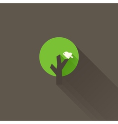 White bird and green tree on a brown background vector image vector image