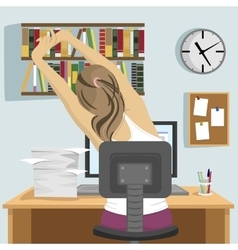 young woman sitting and stretching on workplace vector image