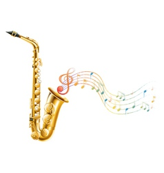 A golden saxophone with musical notes vector image vector image