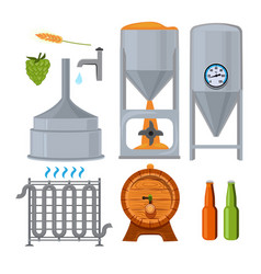 equipment for the brewery pictures in cartoon vector image vector image