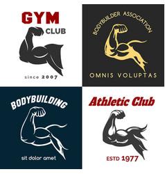fitness center logo set vector image