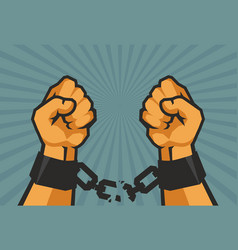 hands tear chains vector image