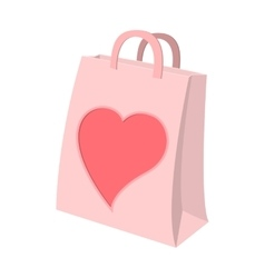 Paper shopping bag with heart cartoon icon vector image