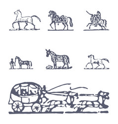 set of horse vector image
