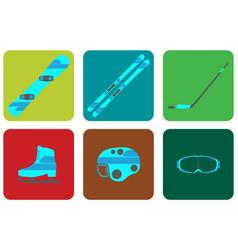 winter sports equipment flat set icon vector image vector image
