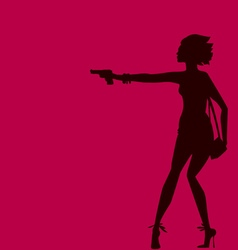 woman silhouette with gun spy agent concept vector image