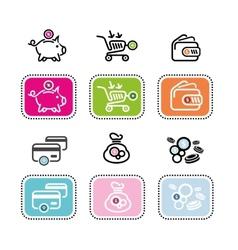 Dollar card purse coin box pig bank vector image