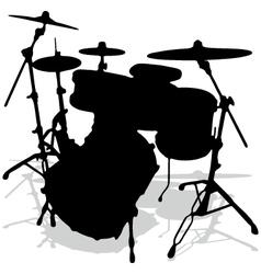 Drum silhouettes music instrument vector