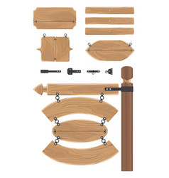wooden signboards and tools for attaching set vector image