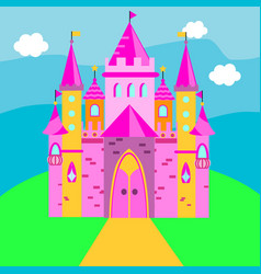 fairy castle pink palace for vector image
