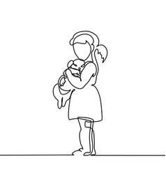 little girl hugs puppy vector image