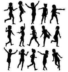 Set silhouettes happy girls jumping and running vector