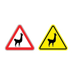 Warning sign attention Lama Hazard yellow sign vector image