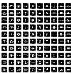 100 playground icons set grunge style vector