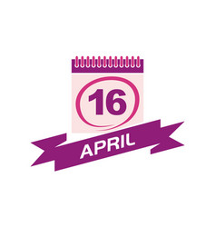 16 april calendar with ribbon vector image