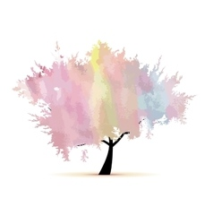 Abstract watercolor tree for your design vector