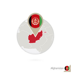 Afghanistan map and flag in circle map of vector