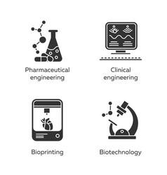 bioengineering glyph icons set medical vector image