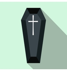 Black classical coffin flat icon vector