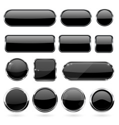 black glass buttons with metal frame collection vector image