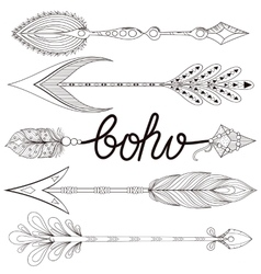 Bohemian Arrows set with henna feathers Hand vector