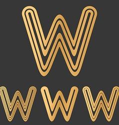 Bronze line w logo design set vector image