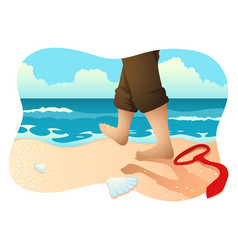 Businessman with barefoot walking on beach vector
