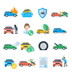 car insurance services icon set vector image