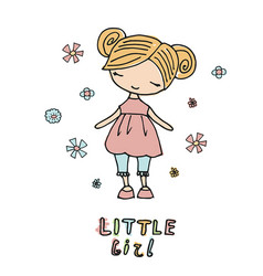 cartoon little girl cartoon little girl vector image