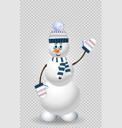 cartoon snowman character in blue knitted hat on vector image