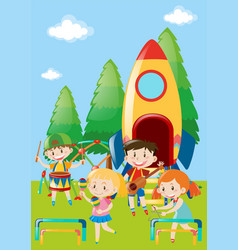 children playing music in park vector image