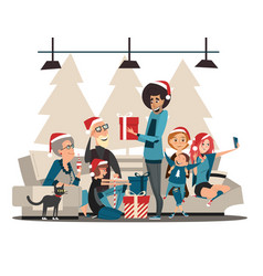 christmas family family characters and christmas vector image