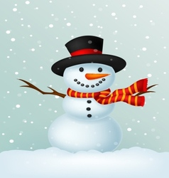 Christmas Snowman cartoon wearing a Hat and red sc vector image