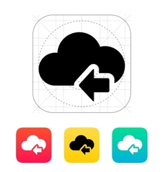 Cloud computing with previous arrow icon vector image