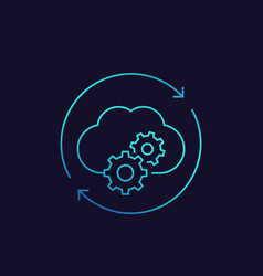 cloud service settings configuration line icon vector image