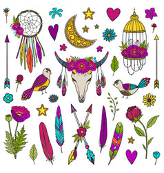 collection of boho style elements vector image