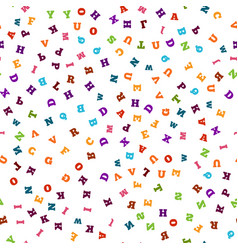 Colorful letter seamless pattern on white vector