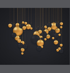 concept global map and christmas balls vector image