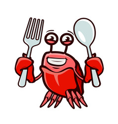 Crab holds fork and spoon seafood cartoon vector
