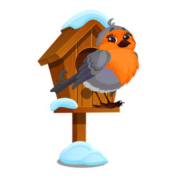 Cute bird sits in a wooden birdhouse isolated vector