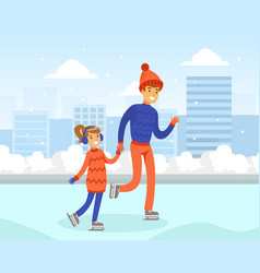 cute girl dressed in warm clothing skating on rink vector image