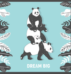 cute panda bear birthday greeting card vector image
