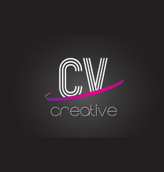 Cv c v letter logo with lines design and purple vector