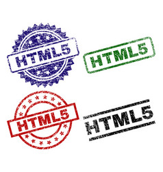 Damaged textured html5 seal stamps vector