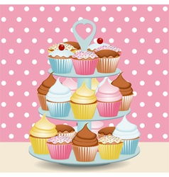 Decorated cupcakes vector