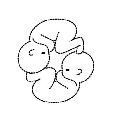 dotted shape nice babies twins with umbilical cord vector image